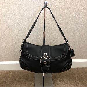 Coach Black Leather Buckle Hobo Shoulder Bag